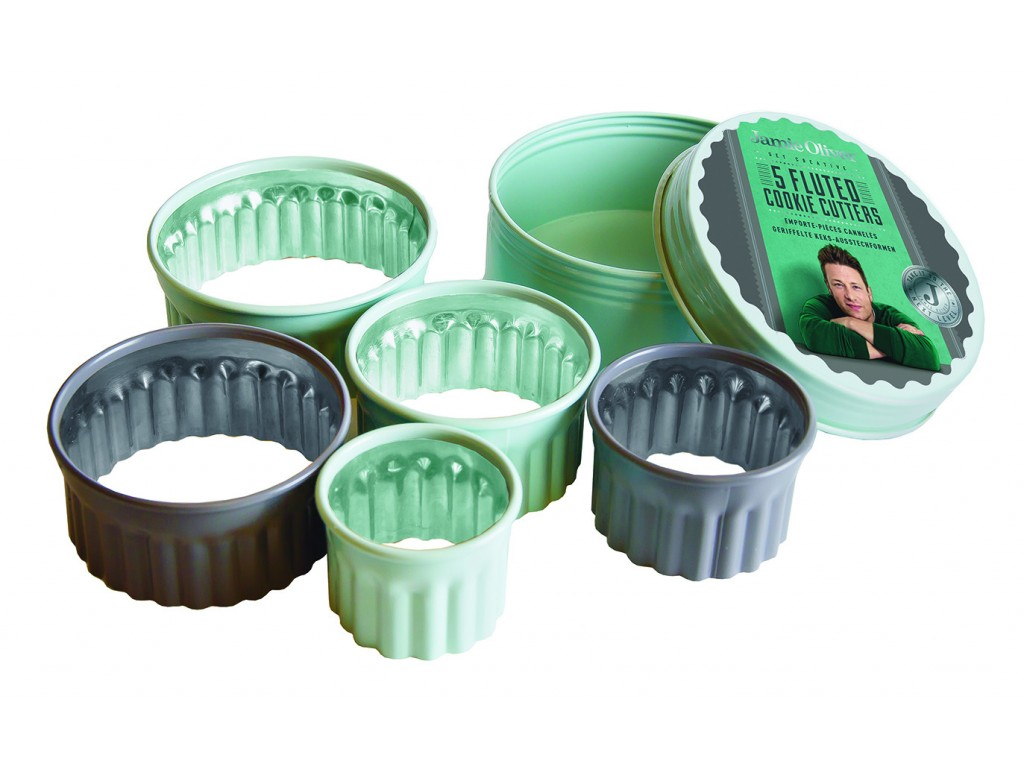 JAMIE OLIVER JB 3810 - Комплект от 5 бр. вълнообразни форми за десерти и ястия, Размери: Ø5см, Ø6см, Ø7см, Ø 8,5 и Ø 9,5 см, Височина: 4 cm