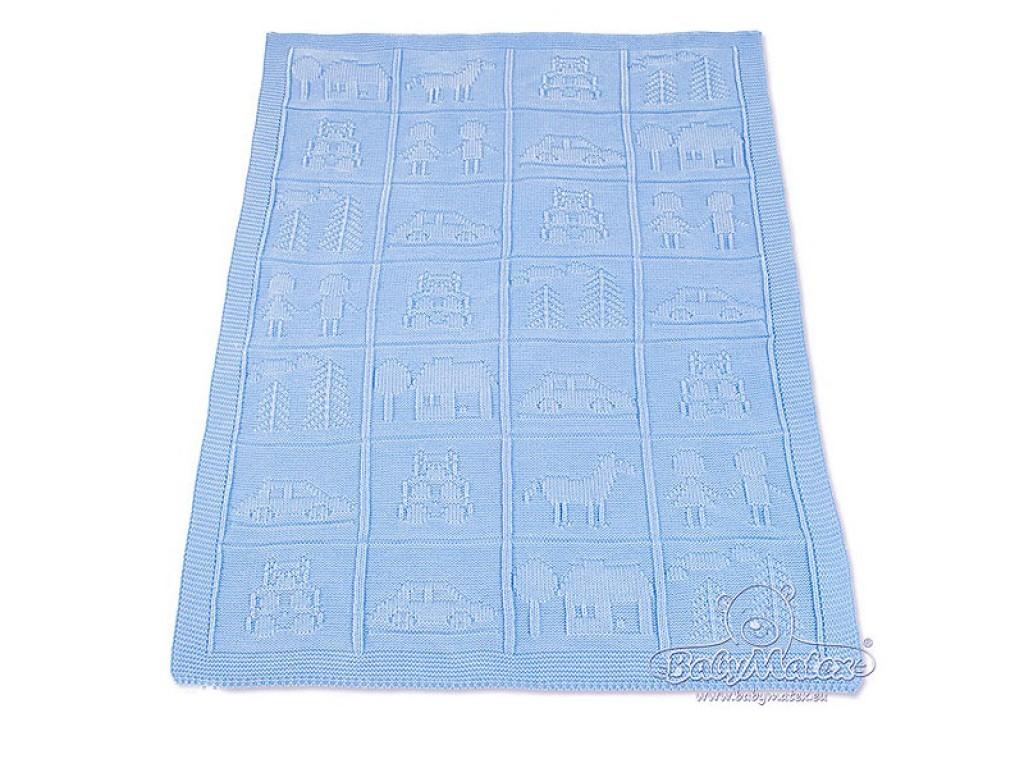 0135 Одеяло плетено синьо 75/100 24