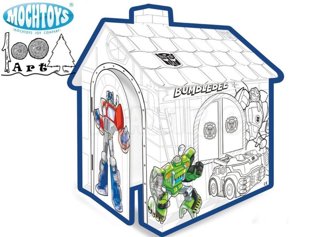 """MOCHTOYS 10841 - Картонена къща за оцветяване """"TRANSFORMERS"""", Размери: 78x67x99 cm, Тегло: 1,58 кг"""