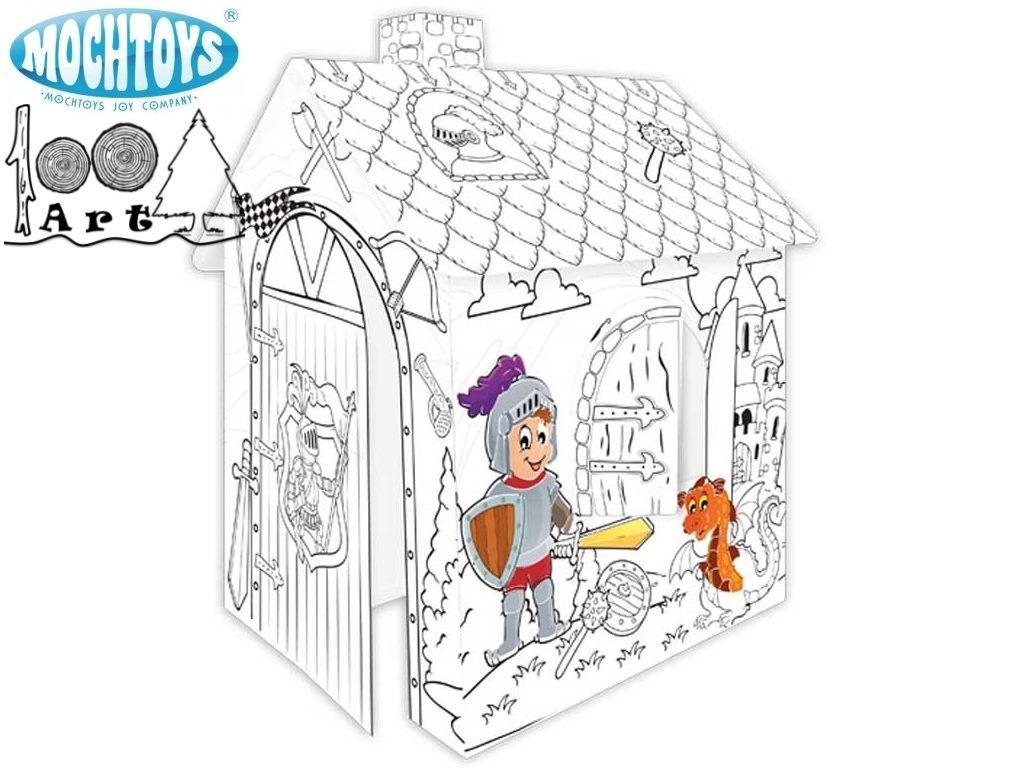 MOCHTOYS 11123 - Картонена къща за оцветяване РИЦАР, Размери: 78x67x99 см
