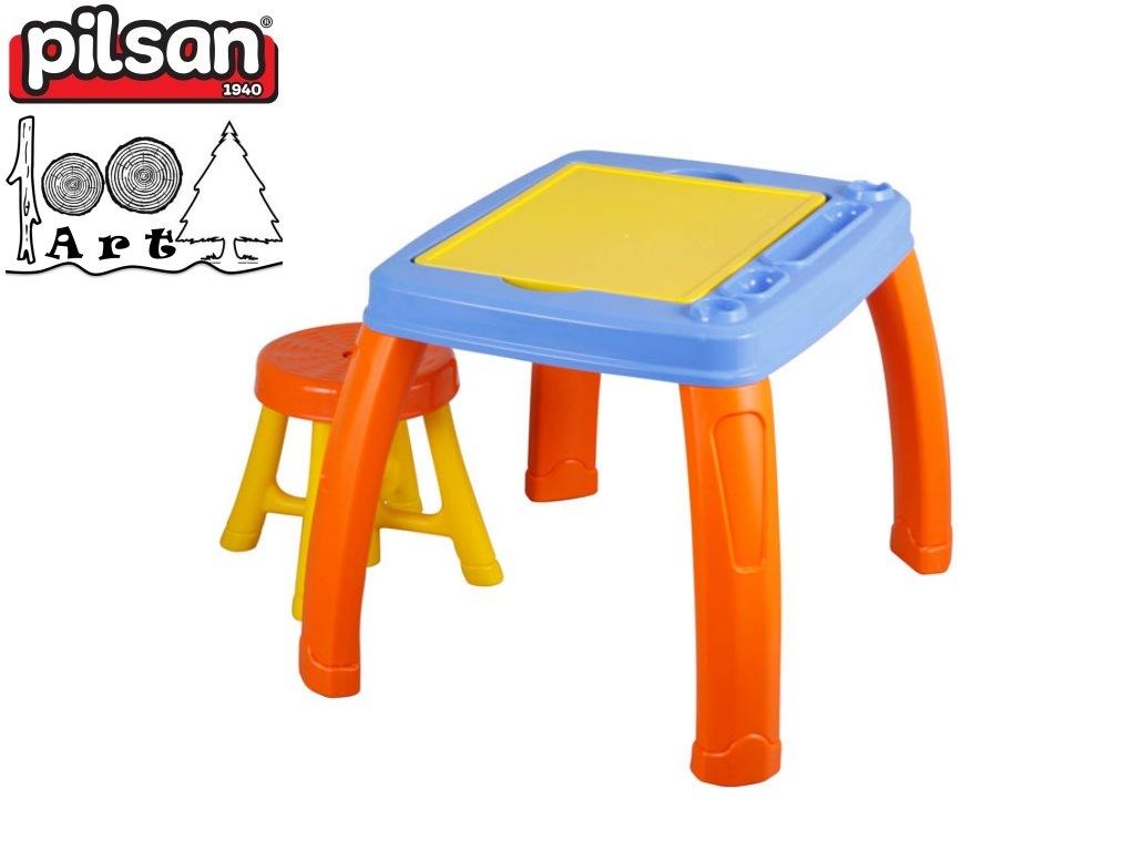 PILSAN 03409 - Маса за рисуване със столче, Размери: 49x56x68 см, Тегло: 3,30 кг