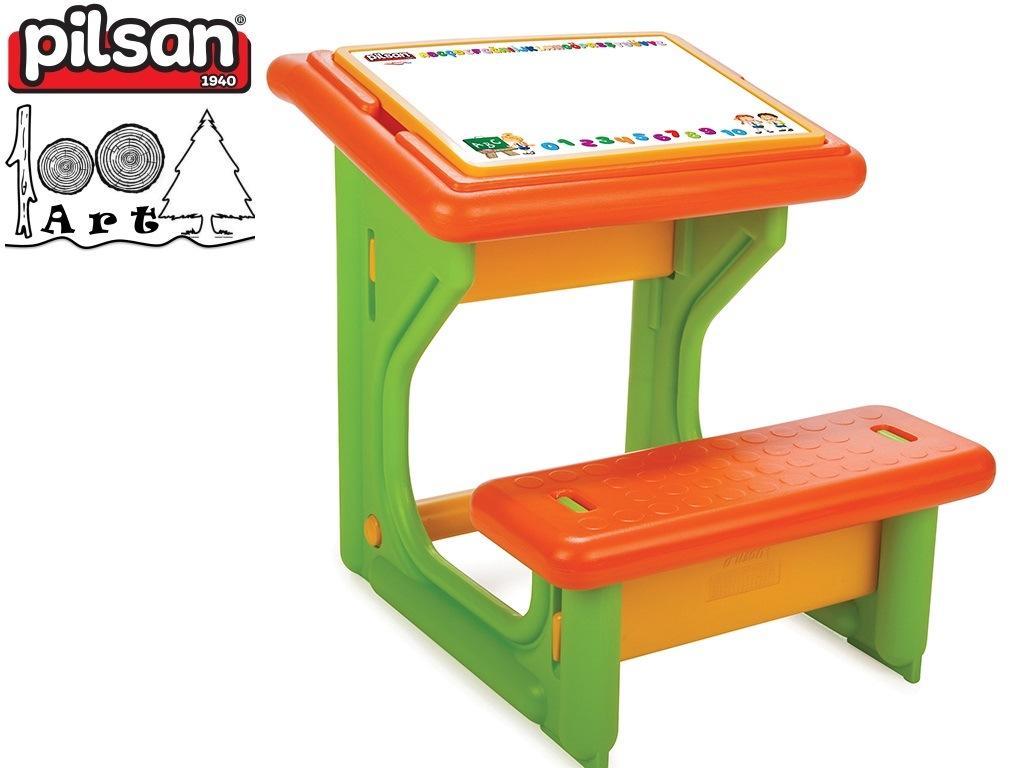 PILSAN 03410 - Детски пластмасов учебен чин, Цвят: Зелен, Размери: 23x55x50.5 см, Тегло: 4,50 кг