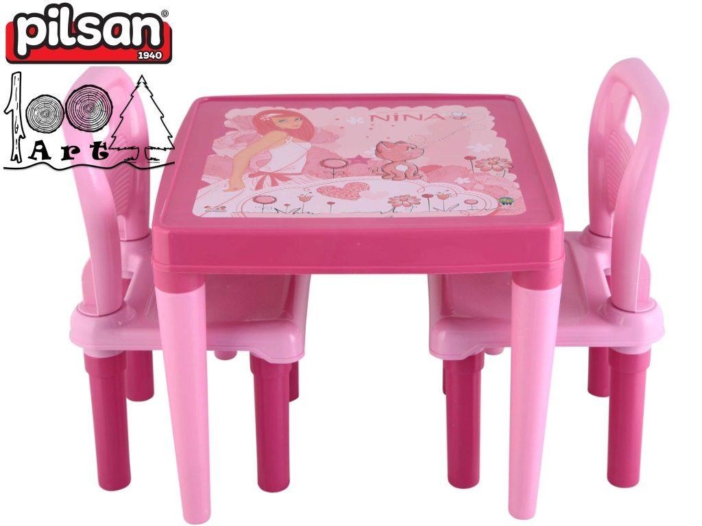 PILSAN 03414 - Детска пластмасова маса с 2 столчета, Цвят:Розов, Размери: 18x49.5x50.5 см, Тегло: 2,80 кг