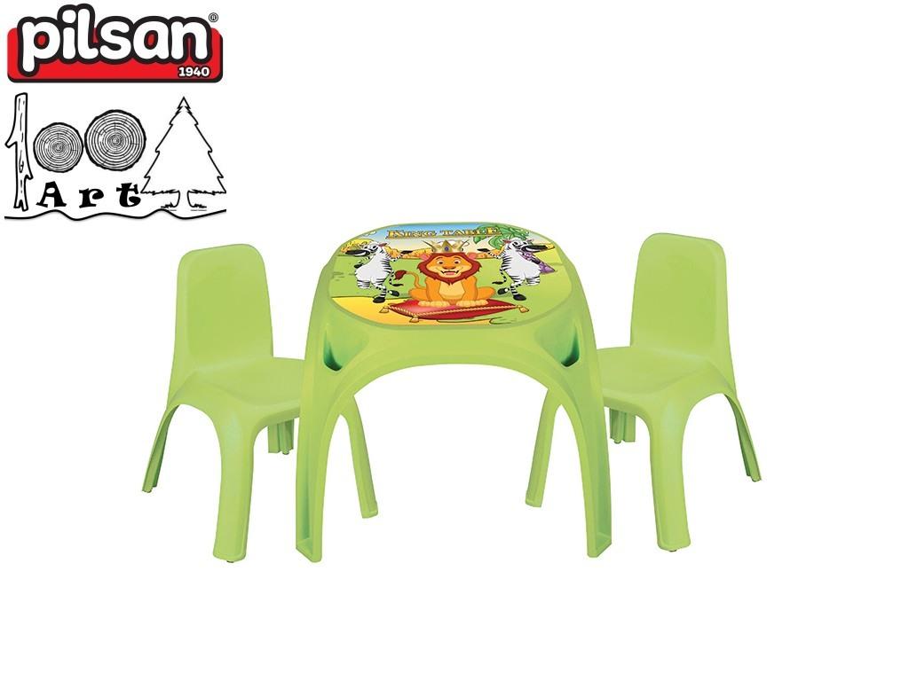 "PILSAN 03422 - Детска пластмасова маса + 2 стола ""KING"", Цвят: Зелен, Размери: маса 50.5x64.5x64.5 см, стол: 56x43x43 см"