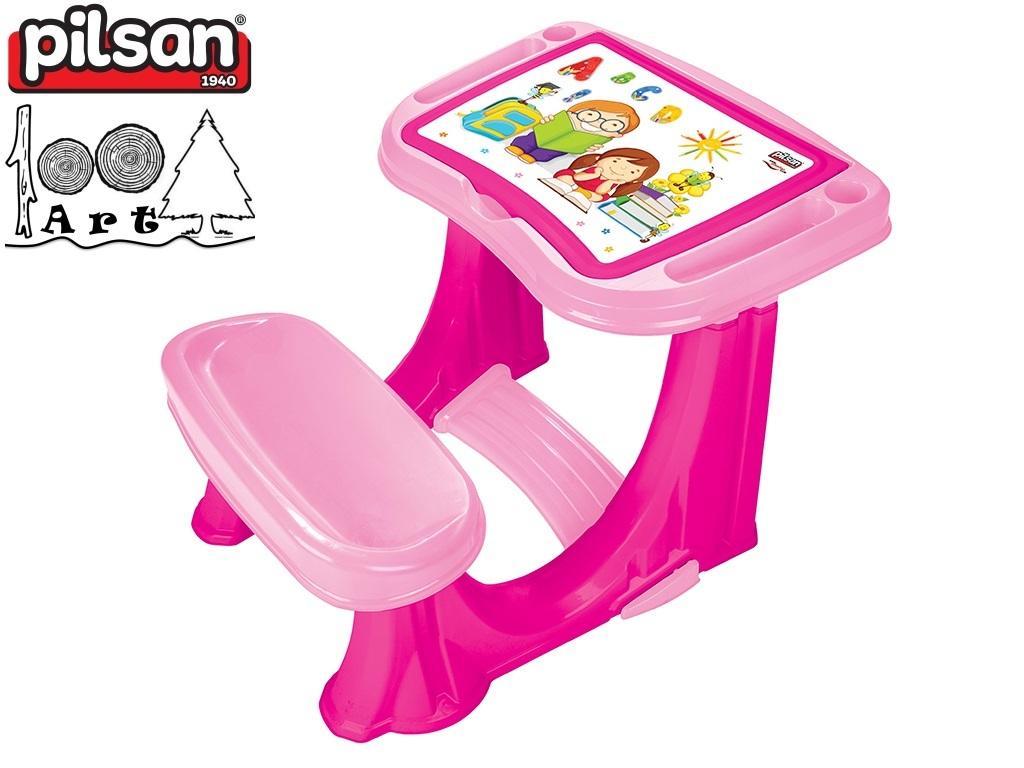 PILSAN 03433 - Детски учебен чин, Цвят: Розов, Размери: 62x78x50 см, Тегло: 3.52 кг