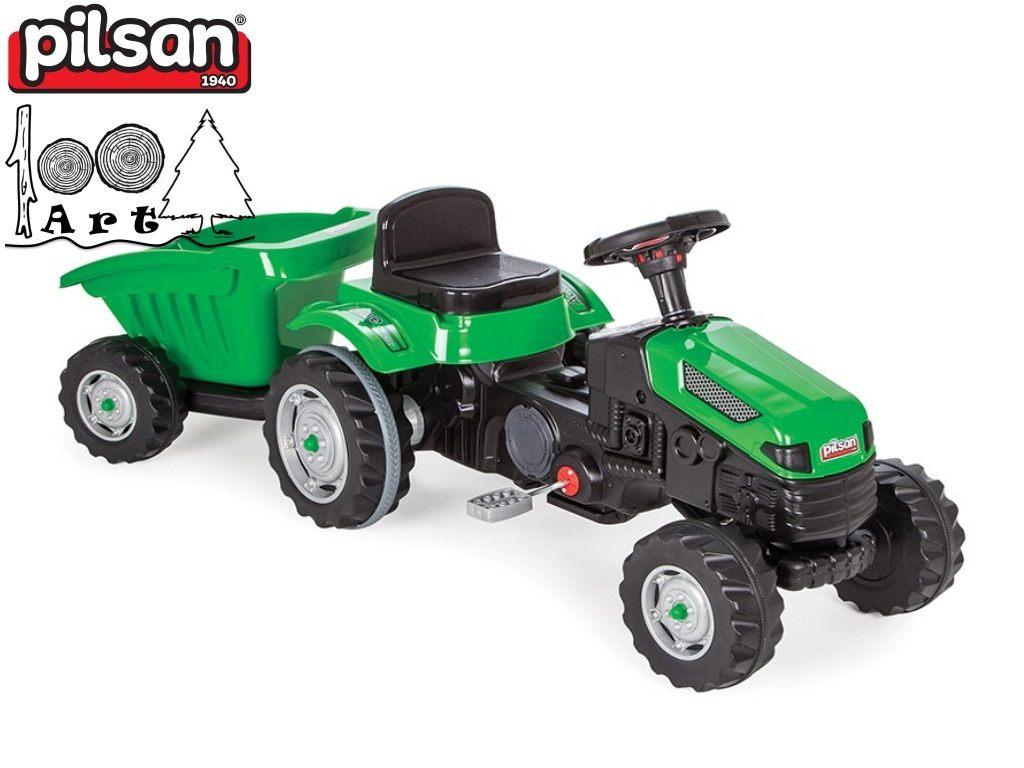 "PILSAN 07316 - Трактор с ремарке ""ACTIVE"", Цвят: Зелен, Размери: 51x143x51 см, Тегло: 12 кг"