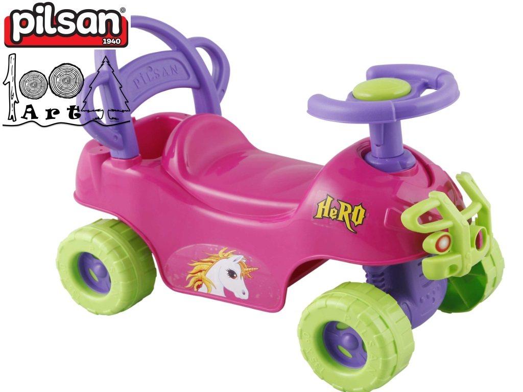 """PILSAN 07812 - Детска кола за бутане/яздене """"HERO"""", Цвят: Розов, Размери: 42x59.5x30 см, Тегло: 2.0 кг"""