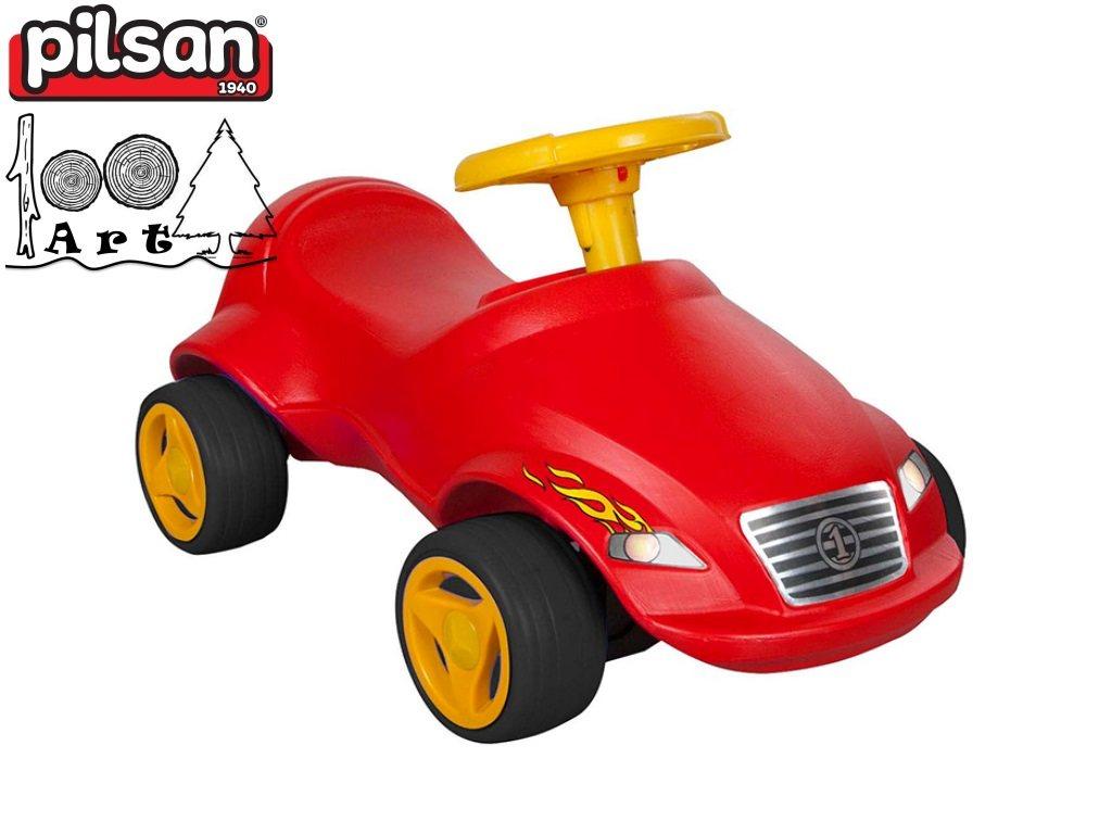 """PILSAN 07820 - Детска кола за бутане """"Fast"""", Цвят: Червен, Размери: 39x71x36.5 см, Тегло: 2.53 кг"""