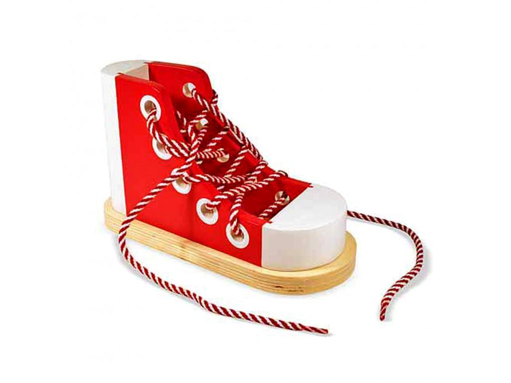 13018 Дървена обувка с връзки
