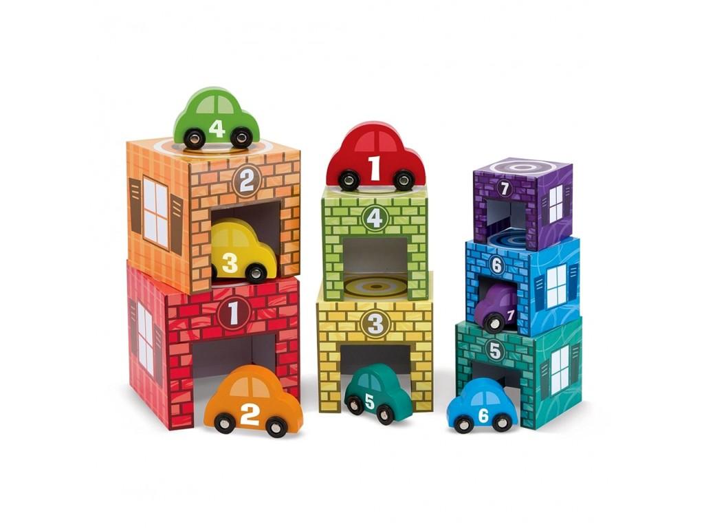 12435 Дървени кубчета кула с цифри и коли