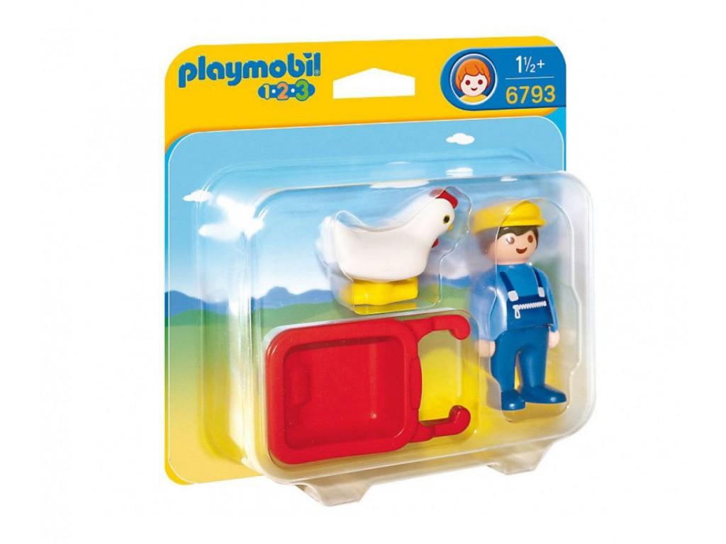 PLAYMOBIL 1-2-3 - фермер с ръчна количка